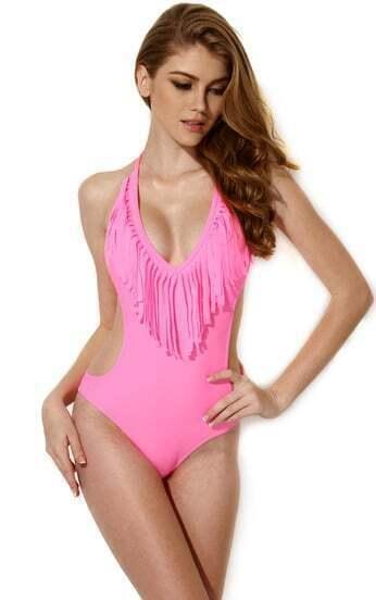 Traje de baño cuello halter flecos-rosado