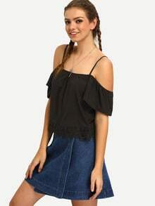 Black Spaghetti Strap Off The Shoulder Lace Blouse