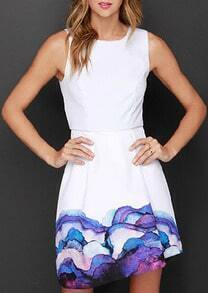 White Sleeveless Florals A-Line Dress