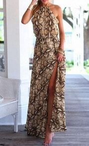 Brown Halter Leopard Split Maxi Dress