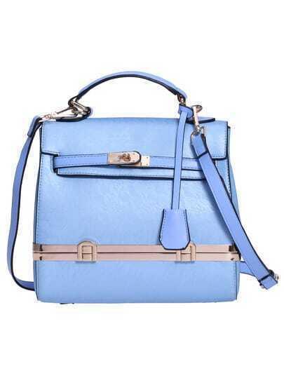 Blue Push Lock PU Shoulder Bag
