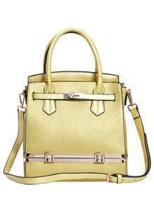 Gold Push Lock PU Shoulder Bag