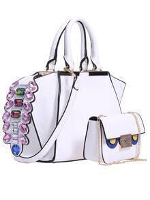 White Jewelled PU Shoulder Bag