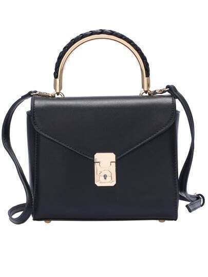 Black PU Push Lock Shoulder Bag