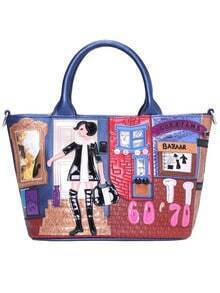Blue Girl Pattern PU Tote Bag
