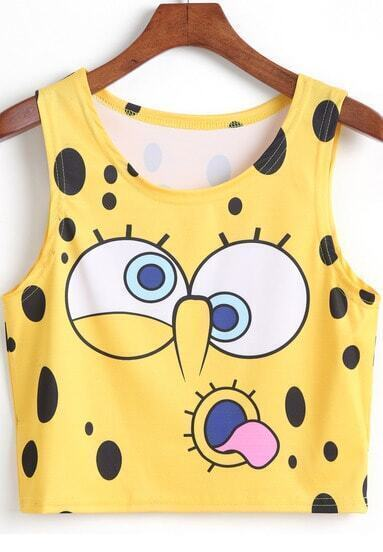 Yellow SpongeBob Print Crop Tank Top
