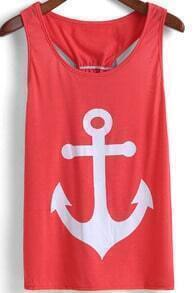 Red Anchors Print Bow Embellished Tank Top