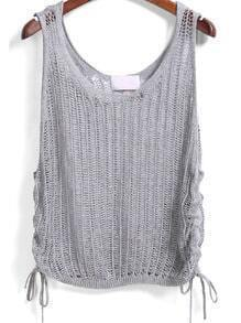 Grey Sleeveless Hollow Bandage Vest