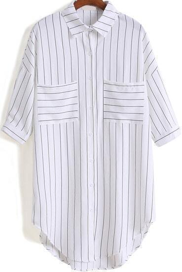 White Lapel Vertical Stripe Pockets Blouse