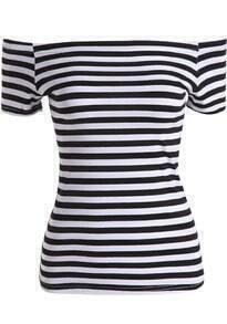 Black White Boat Neck Striped Slim Top