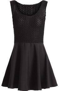 Black Sleeveless Ruffle Flare Knit Dress