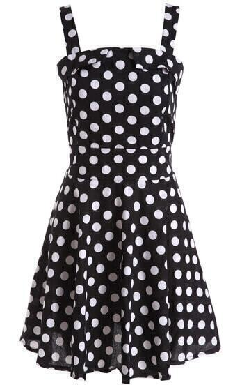 Black Strap Polka Dot Flare Dress