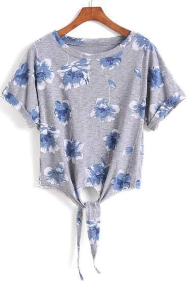 Grey Short Sleeve Floral Knotted T-Shirt