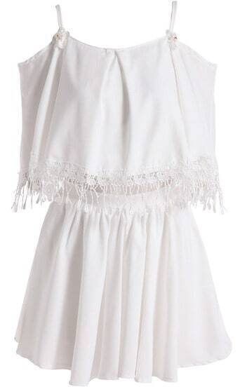 White Off the Shoulder Lace Top With Skirt