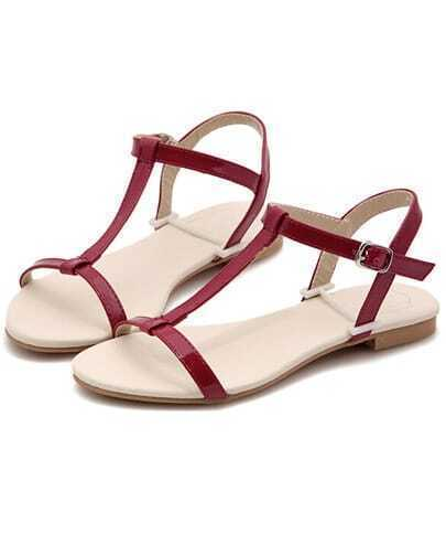 Red Strappy Flat Sandals