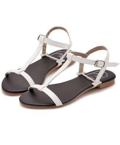 White Strappy Flat Sandals