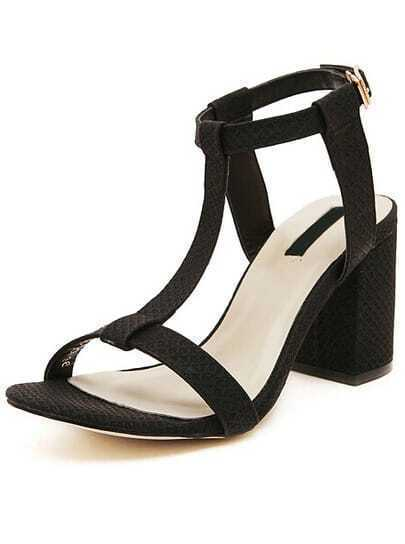 Black Strappy High Heeled Sandals