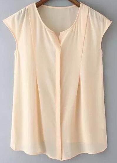 Pink Round Neck Sleeveless Sheer Blouse