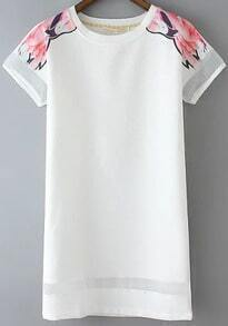 White Short Sleeve Floral Organza Straight Dress