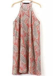 Orange Halter Cashew Print Loose Dress