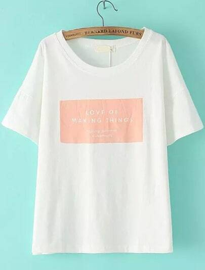 White Short Sleeve Pink Letters Print Loose T-Shirt