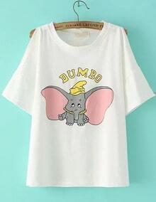 Camiseta hombro al aire Elefante -blanco