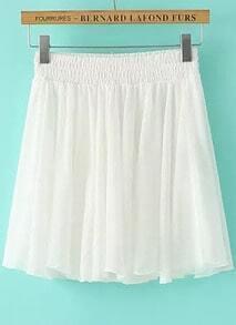 White Elastic Waist Pleated Chiffon Skirt