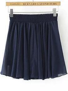 Navy Elastic Waist Pleated Chiffon Skirt