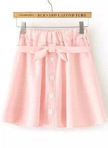 Pink Bow Plaid Pleated Skirt