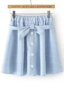 Blue Bow Plaid Pleated Skirt