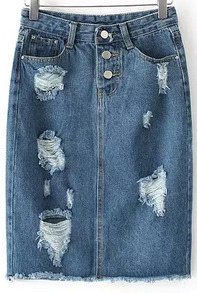 Blue Pockets Ripped Fringe Denim Skirt