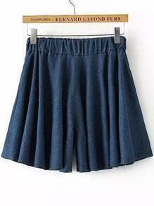 Navy Elastic Waist Pleated Denim Shorts
