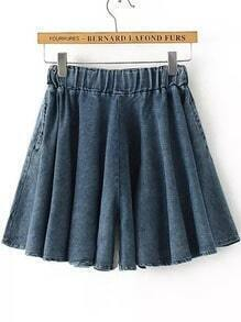 Blue Elastic Waist Pleated Denim Shorts
