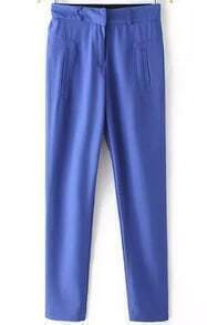 Blue Pockets Casual Chiffon Pant