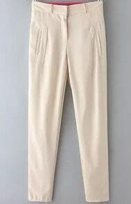 Beige Pockets Casual Chiffon Pant