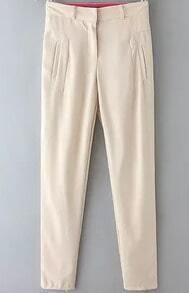 Beige Pockets Casual Chiffon Pant