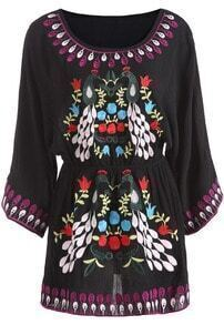 Black Long Sleeve Tribal Embroidered Dress
