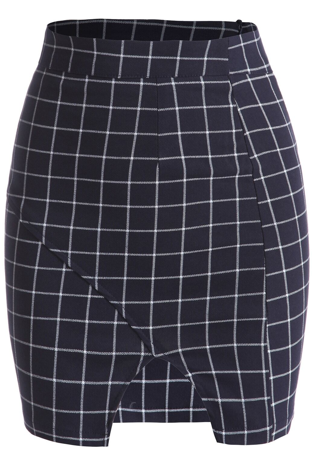 royal blue plaid bodycon skirt shein sheinside