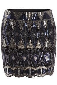 Black Sequined Bodycon Skirt