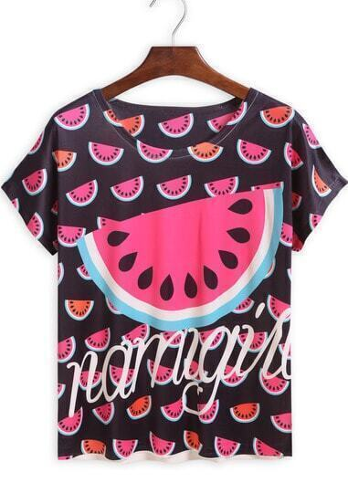 Black Short Sleeve Watermelon Print T-Shirt