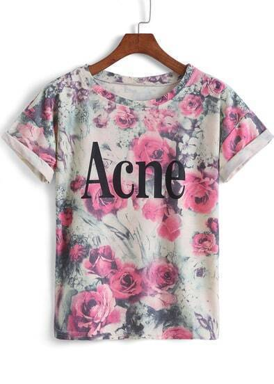 Red Short Sleeve Floral Acne Print T-Shirt