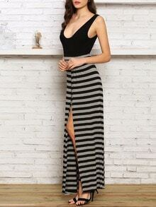 Black Grey Deep V Neck Striped Asymmetric Dress