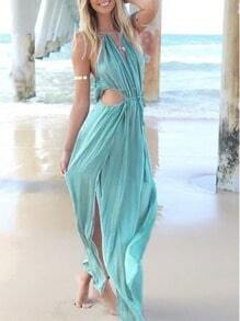 Turquoise Spaghetti Strap Cut Out Maxi Dress