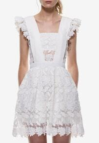 White Lace Flounces Shoulder Hollow Flare Dress