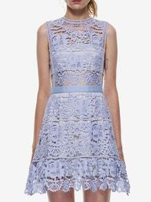 Blue Side Hollow Lace A-Line Dress