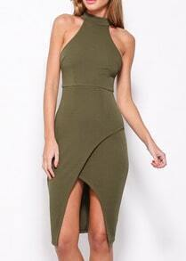 Army Green Halter Asymmetrical Hem Bodycon Dress