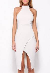 White Bodice Halter Asymmetrical Wrapover Hem Bodycon Dress