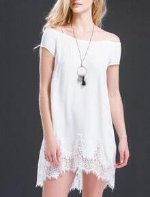 White Short Sleeve With Lace Dress