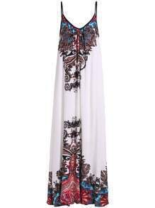 White Spaghetti Strap Tribal Print Maxi Dress