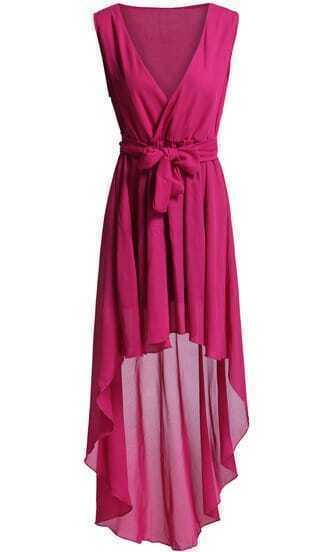 Red Deep V Neck Tie-waist High Low Dress